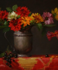 Elizabeth Robbins dahlias and silver oil painting