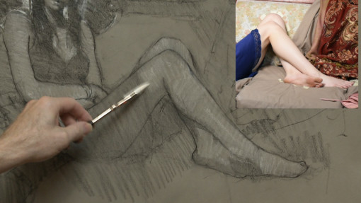 Bryce Liston drawing the draped figure