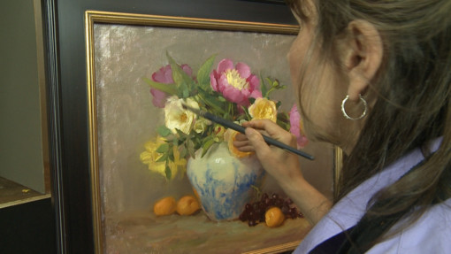 Elizabeth Robbins oil painting roses and peonies