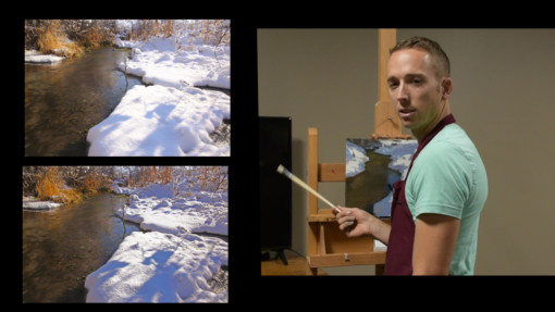 Josh clare oil painting the winter landscape