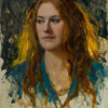 Bryce Liston oil painting backlit portrait