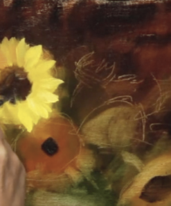 Elizabeth Robbins oil painting sunflowers and jade