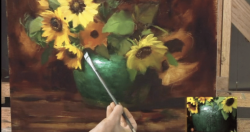 Elizabeth Robbins sunflowers and jade oil painting