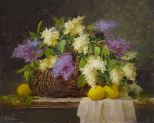 Elizabeth Robbins oil painting still life lilacs and lemons